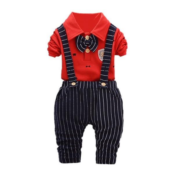 good quality Children Striped Baby Boy Clothes Set Kids Clothing Suit Fashion T-shirt+Bib Pants 2Pcs/set Baby Boys Clothing Set