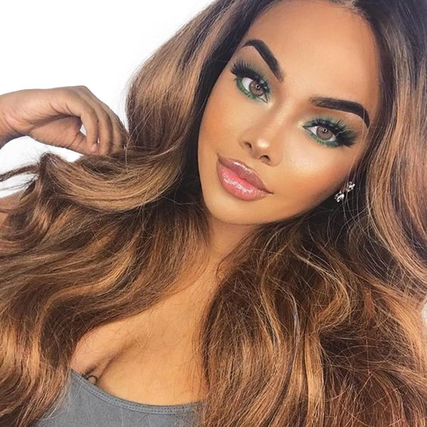 Ombre Color Short Bob Lace Front Human Hair Wigs for African American Women Brazilian Virgin Hair Two Tone Wigs with Pre-plucked Hairline