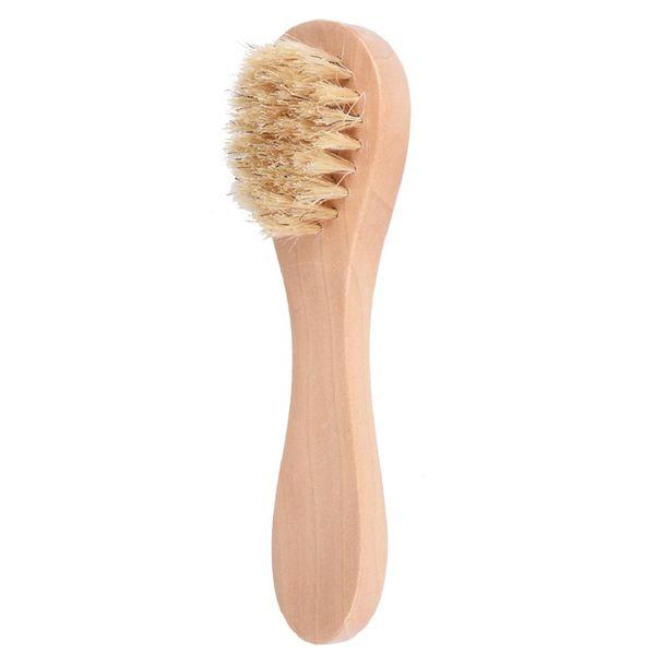 Brosse nettoyante pour le visage pour l'exfoliation du visage Poils naturels Brosse pour le visage exfoliante pour le brossage à sec et le gommage à l'aide d'une poignée en bois