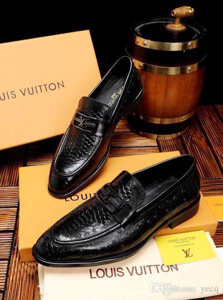18ss Новый Горячий Итальянский Известные Бренды Топ Кожа Кожа Мужские Костюмы Обувь Мода Slip On Классическая Обувь Мужчины Оксфорды