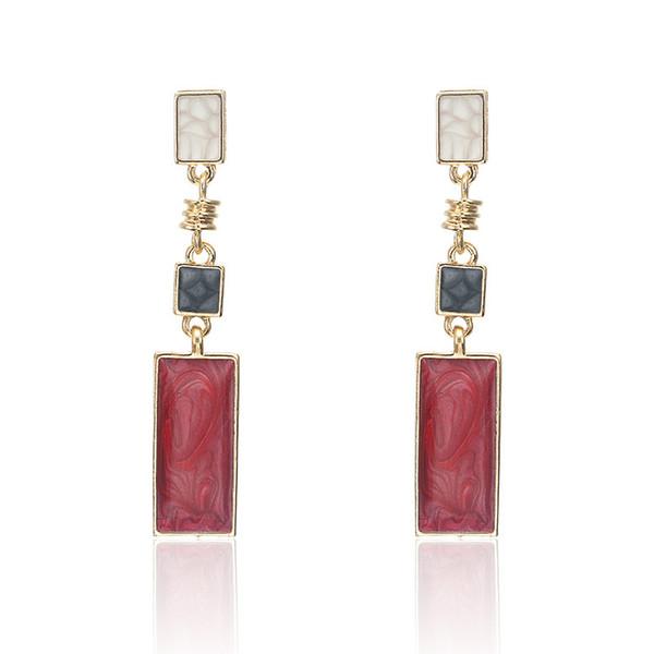 Fashion women Design black white red color Square drop earring Geometric Fashion Wedding Jewelry wholesale