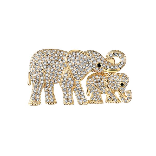 Cute Love Copper Brooch Elephant Mother Elephant Baby Gold Silver Copper Zircon Jewelry Brooch Pin Dress Wedding High Quality