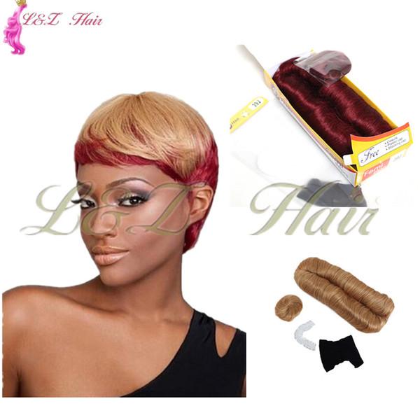 Trama dupla Curta Reta Bob tecer cabelo 99J cores 28 Peças Femi Fibra Sintética Tecelagem fibra de Alta Temperatura 3-5 polegada