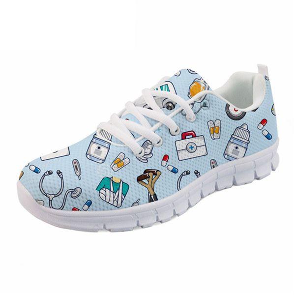 Spring Nurse Flat Shoes Women Cute Cartoon Nurses Printed Women's Sneakers Shoes Breathable Mesh Flats Female