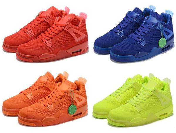 2019 Örgü 4 Fly Üniversitesi Kırmızı Hiper Kraliyet Mavi Toplam Turuncu Volt Örgü Basketbol Ayakkabı Erkekler 4 s Örme Sneakers Yüksek Kalite Ile kutu
