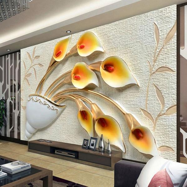 Peinture murale personnalisée Papier peint non tissé gaufrée Fonds d'écran Fleur 3D For Living fond TV Salle mur papier mural De Parede