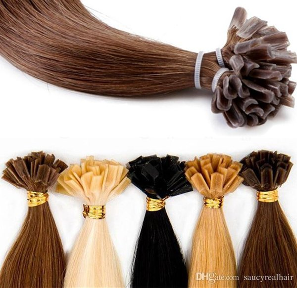 Discount Price Fasional Color Pre Bonded Keratin U tip Human Hair Extension Straight Remy Hair Nail Tip Hair Extensions 300g 300strand pack