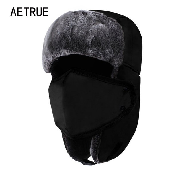 AETRUE Winter Women Bomber Hats Men Fur Warm Thickened Ear Flaps Winter Hats For Women Fashion Bomber Hat Earflap Caps New 2018 D19011503