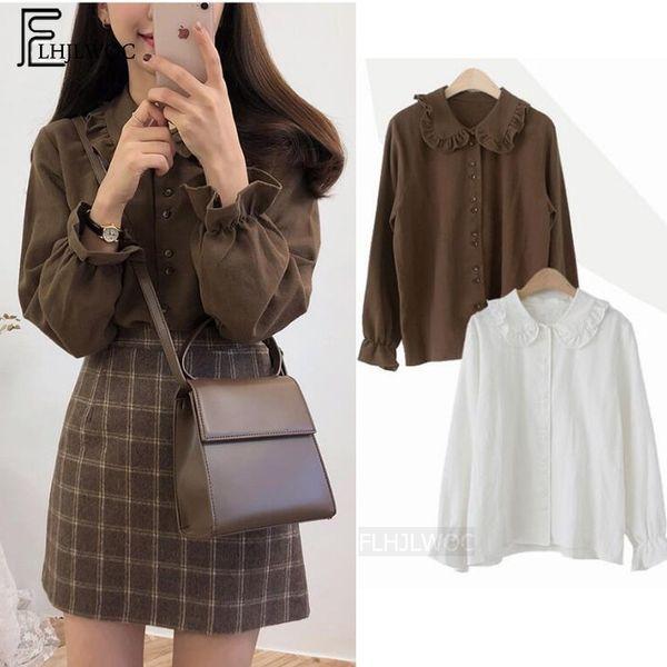 Basic Shirts Blouses Hot Sales 2019 Women Fashion Design Korean Preppy Style Flare Sleeve Peter Pan Collar White Button ShirtMX190824