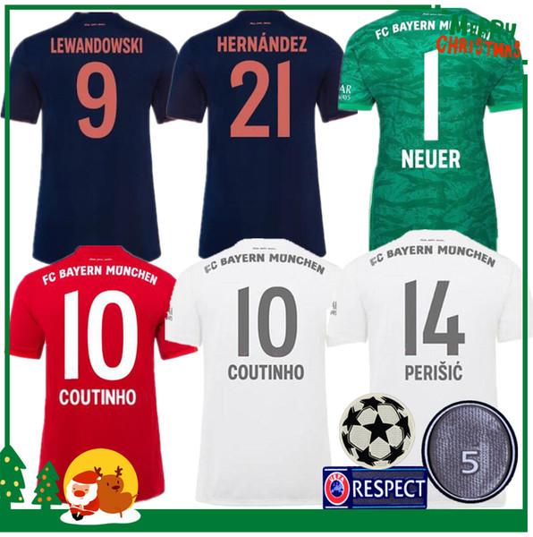 2019 Bayern Münih COUTINHO VIDAL LEWANDOWSKI MULLER ROBBEN evden uzakta 3. futbol formaları 19 20 yetişkin adam + çocuk kiti spor Futbol forması