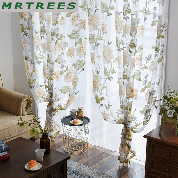 Elka modern floral tulle curtains for living room luxury sheer curtains for the bedroom kitchen tulle window fabric