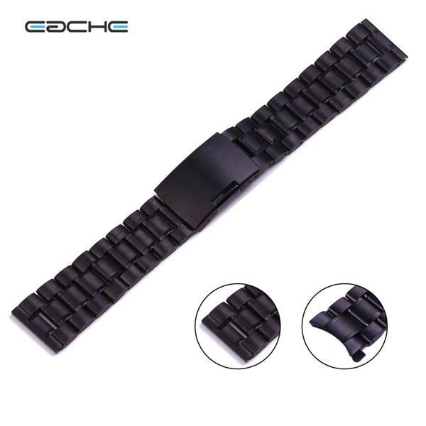 man 50 Solid Stainless Steel straps Curved Head black color watch band 18 20 22mm 24mm hot sale