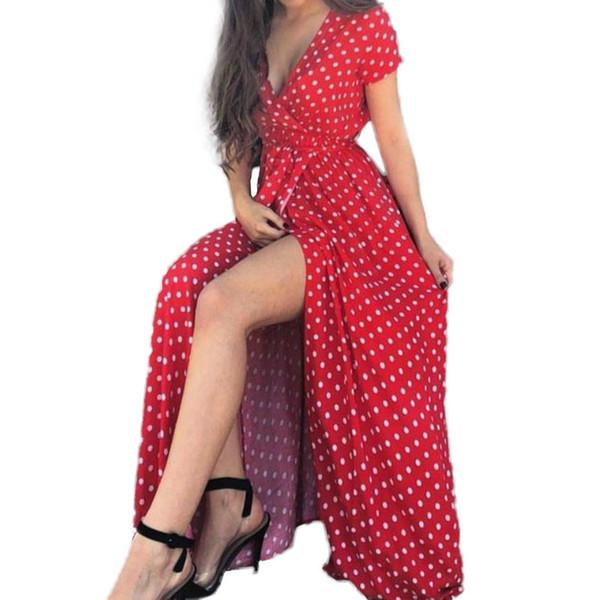 Пляж макси длинное платье старинные горошек оборками сплит свободного покроя сексуальный сарафан ну вечеринку женщины летние чайные платья Большой размер Gv491 Q190511