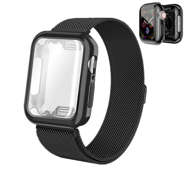 wholesale Milanese Loop With Plated TPU Case Strap For Apple Watch 4 Band 40mm 44mm Wistband Screen Protector For iWatch Series 4