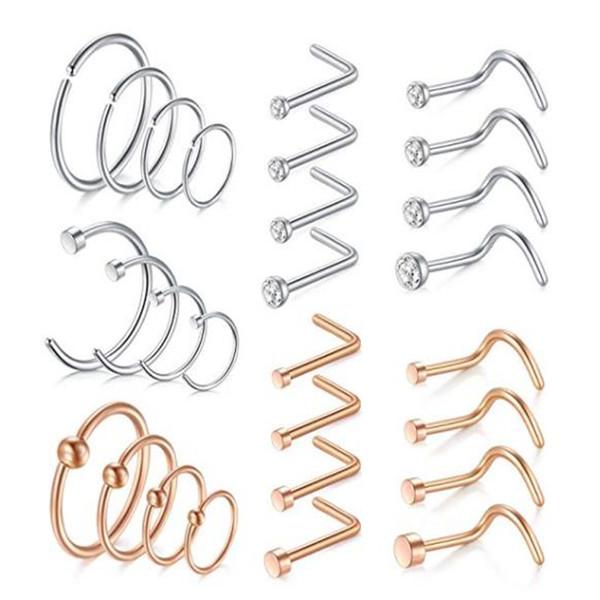 18G inoxidável Nose Aço Anéis Hoop em forma de L Nariz Anéis Studs parafuso de jóias Tragus cartilagem Helix Anéis Lip Septum Piercing