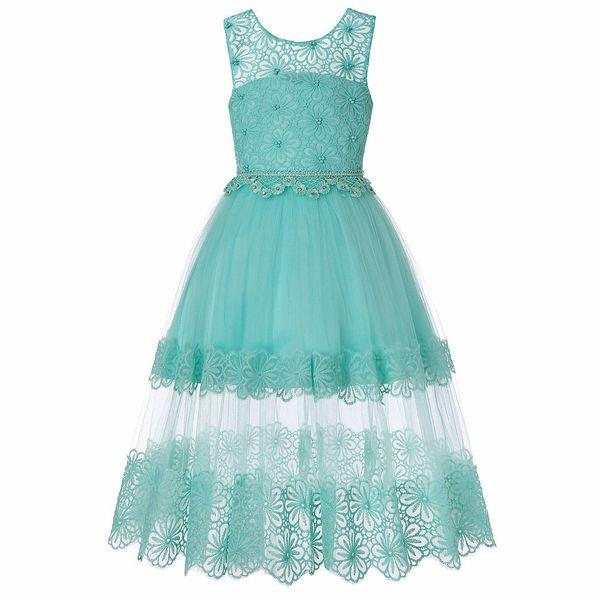 Enfants filles formelle robe dentelle ourlet fleur décor sans manches robe de princesse en tulle @ZJF