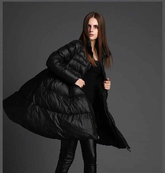 Hot models New black high quality white duck down coat women's large size loose thick warm down jacket SH190930