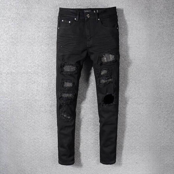 S19 New Arrive AM565 Skinny Motorcyclist Men Jeans Desinger in single cow thickened Slim Washed jeans