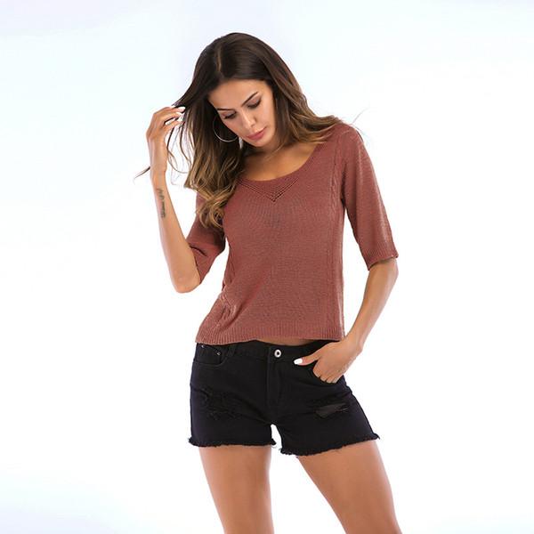 Camicia da donna a manica corta da donna con scollo a giro manica corta a maniche lunghe con scollo a cuore e maniche lunghe