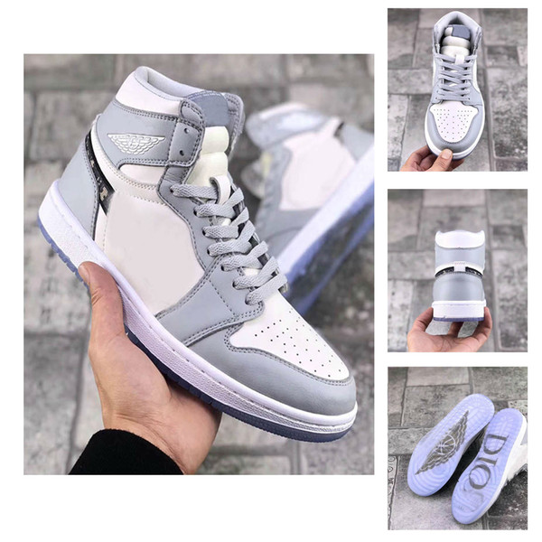 2020 neue Ankunfts-1 High OG Marke 1s Basketball-Schuh-Mann einer Frau Weiß Grau Schwarz Mann-Sport-Designer-Turnschuhe