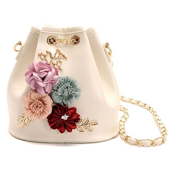Borse a mano secchiello mini borse a tracolla con catena con coulisse Piccola croce corpo perle lascia decalcomanie