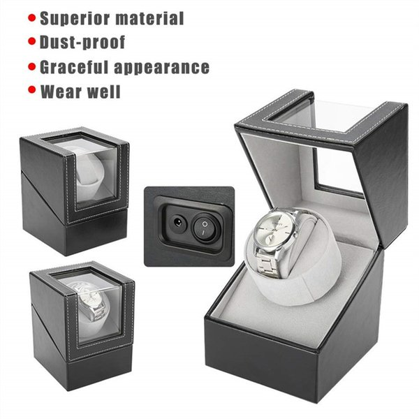 Boîte de montre automatique tournante moteur électrique unique PU montre remontoir titulaire bijoux cas stockage organisateur boîte noir brun