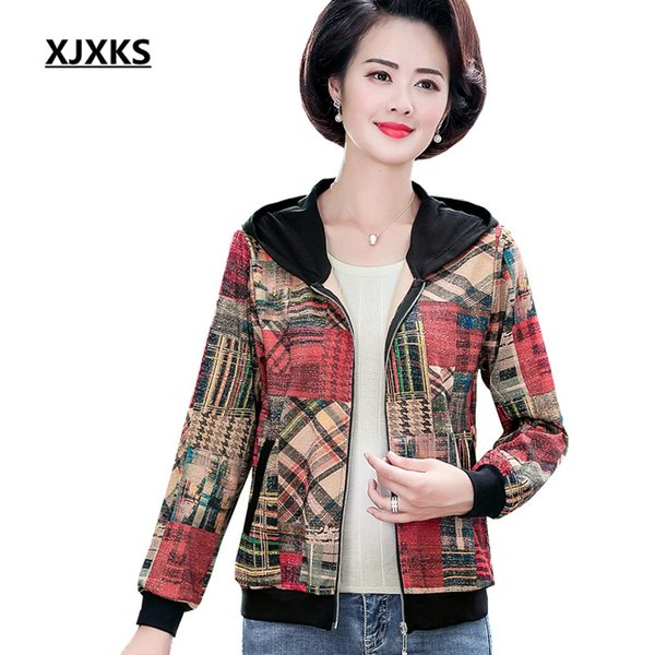 XJXKS Fashion printing hooded women's jacket cardigan 2019 autumn new loose plus size casual women's thin coat