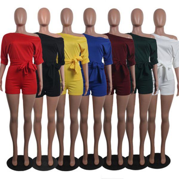 Women Jumpsuits Summer Romper Sexy Solid Color Oblique Collar Button One-piece Shorts Bodycon Jumpsuit Party Pants Plus Size Clothing S-2XL
