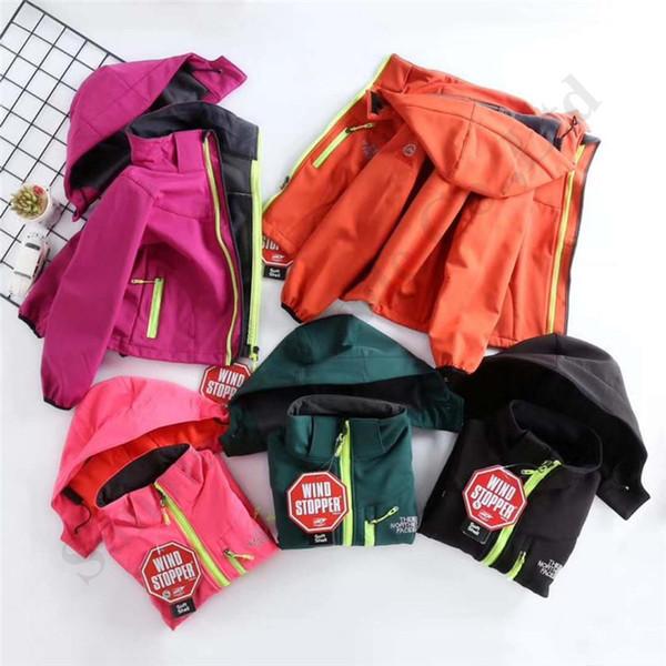 La Toison d'hiver Enfants du Nord Softshell Visage Marque NF Filles Garçons Zipper capuche Manteaux avec poche chaud coupe-vent Veste C102406