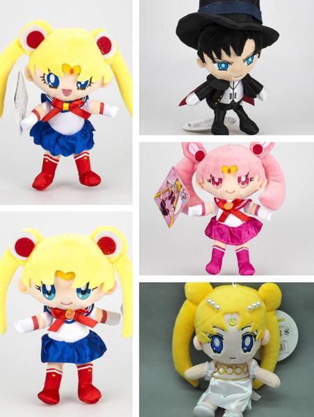 New 18CM Sailor Moon Sailor Chibiusa Princess Serenity Chiba Mamoru Plush Doll Pendant