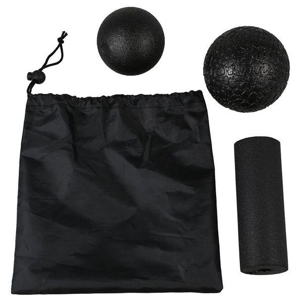 Conjunto de massagem para ioga - Produtos para o cabelo nas versões 1 bola de lacrosse + 1 bola de fáscia + 1 coluna de ioga