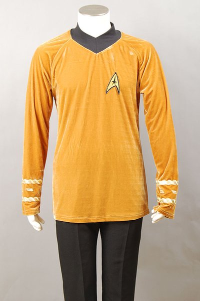Costumes Accessories Cosplay Costumes Star Trek TOS Captain Kirk Spock Cosplay Costume Blue Gold Yellow T Shirt Outfit Uniform XS-XXXL