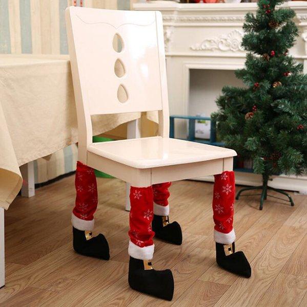 Chaise de Noël Père Noël Couverture du pied Pied de table Décoration de Noël Floor Party Favor Protecteurs OOA7351-3 50pcs