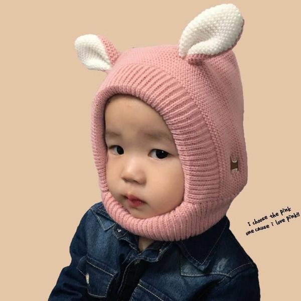 Winter Baby Hat Cartoon Style Ear Crochet Knitted Caps for Infant Boys Girls Children New Fashion Kids Winter Neck Warmer