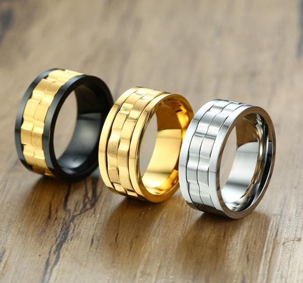 Fashion Men's Punk Rock Ring Stainless Steel Black/Gold/Silver Spinner Rings For Men USA Size 6-12