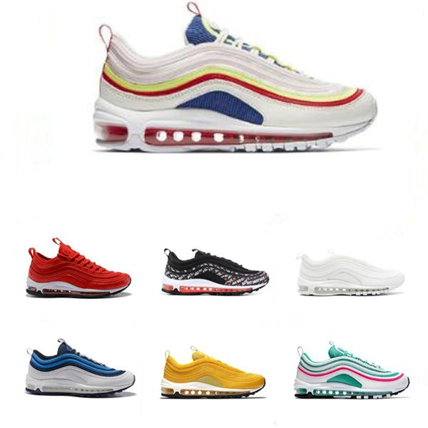 low priced 86e42 cbfc0 Cheap Sale JUST DO IT 97 Mens Running Shoes Mustard Triple White Black  Grape South Beach Rainbow 97s Women Sports Sneakers 36 45 Trail Running  Shoes ...