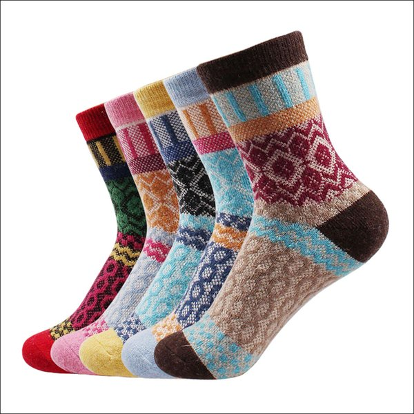 2017 new winter thermal cashmere socks women warm rabbit wool socks women 's thicken socks girl casual sock 5 pairs /lot thumbnail