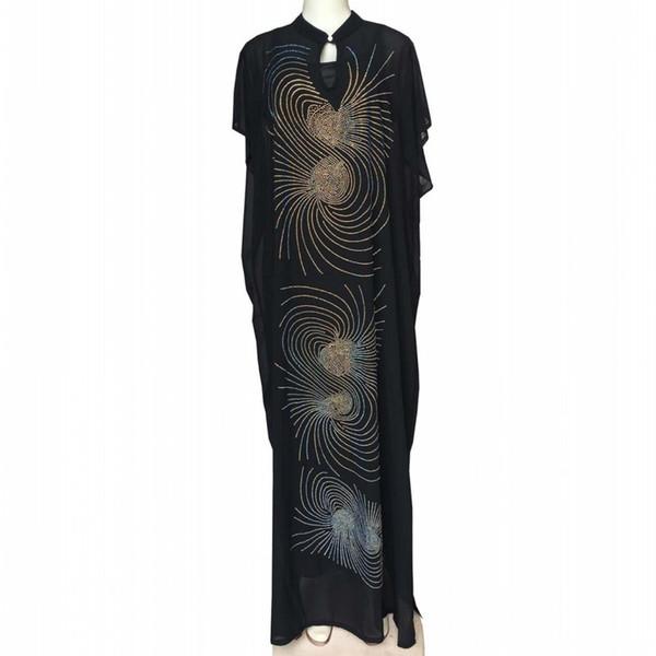 African Dresses For Women 2019 New African Design Bazin Chiffon Long Stick Diamond SLeeve Dashiki Dress For Lady