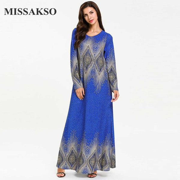 Missakso Casual Print Dress Maxi Blue Manica lunga femminile A Line Primavera Autunno Plus Size Abaya Muslim Women Long Vintage New