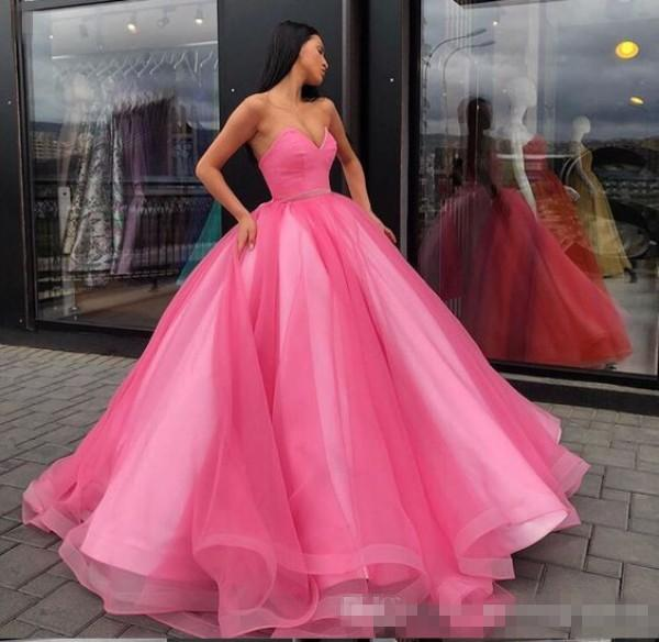 2019 Princess Pink Tulle Quinceanera Dresses Puffy Ball Gown Sweetheart Sleeveless Fit and Flare Custom Made Formal Gowns Sweet 16 Dress