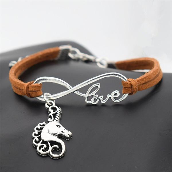 Corda di cuoio di modo casuale fortunato argento antico della testa di cavallo Unicorno fascino del pendente Infinito Amore Brown braccialetto per Unicorn Regali Accessori