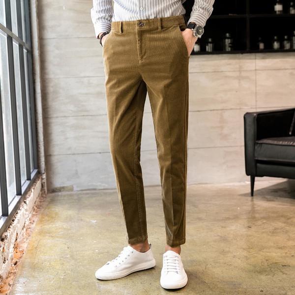 2018 Neueste Herrenhosen Britischen Stil Slim Fit Cord Freizeithosen Männer Qualität Herbst Winter Baumwolle Herrenanzug Hosen