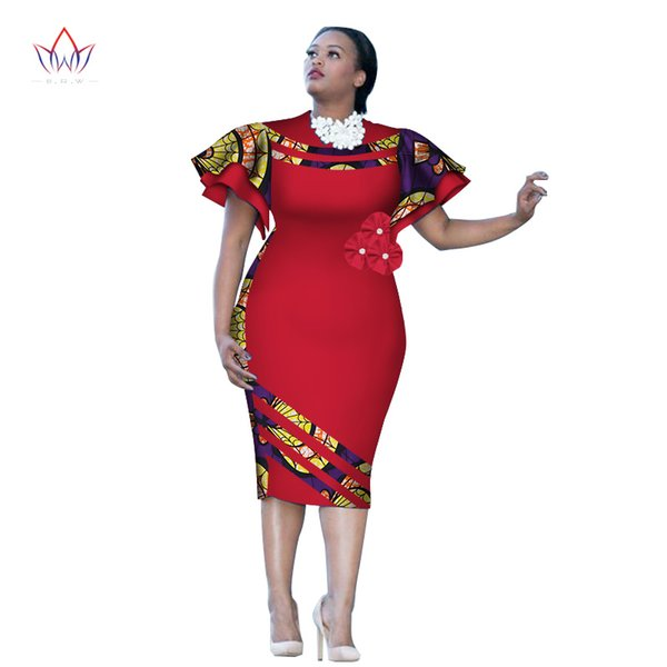 Fashion Tight Customized African Print ClothingRuffle Sleeve Knee Dress Summer Women Party Dresses Plus Size African Clothing 6XL