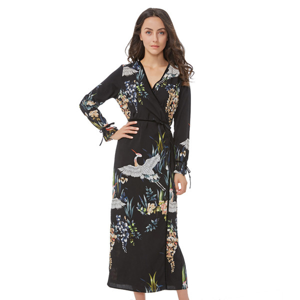 Flower Crane Pattern Maxi Wrap Dress V Neck Sashes Bow Tie Long Sleeve Vintage Bird Chic Long Loose Casual Vestidos