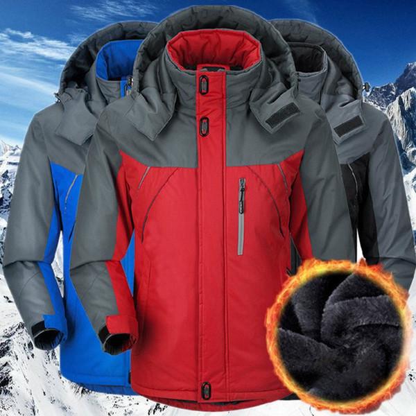 Giacca invernale da uomo impermeabile con cappuccio antivento Giacca da neve invernale da escursionismo Sci per giacca da sci da sci all'aperto