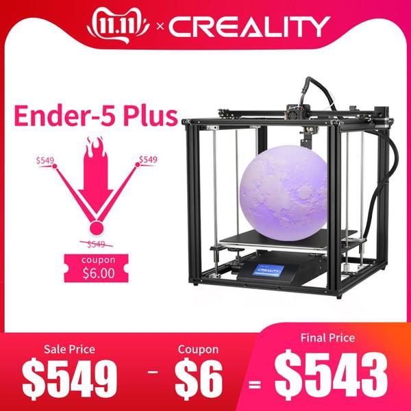 CREALITY impresora 3D Ender-5 Plus de doble eje Y Motors Construir magnética Power Plate fuera Reanudar estructura de impresión cerrado