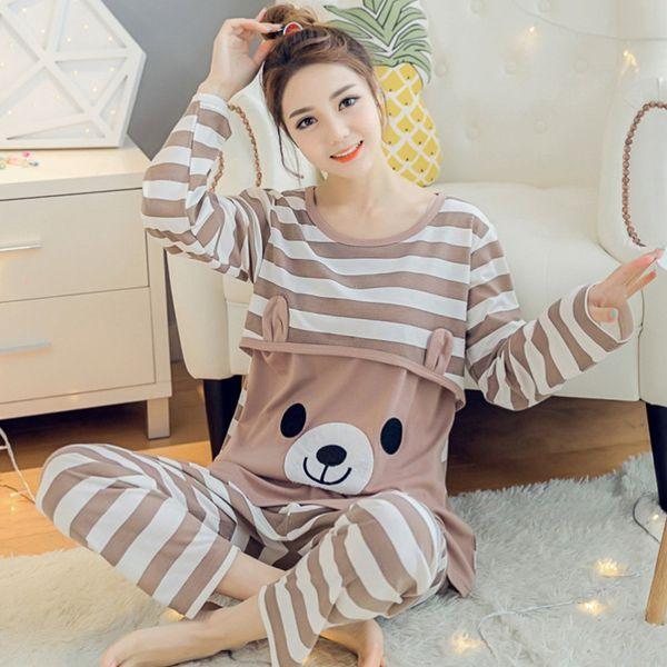 2018 Spring Autumn Maternity Cotton Long Sleeve Nursing Pajama Sets Pregnant Women Homewear Sets Breast-feeding Underwear Suits