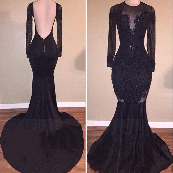 Hot Sale Elegant Black Illusion Prom Dresses 2019 Sexy Backless Mermaid Long Sleeves Stretch Long Evening Party Gowns with Appliques Beaded