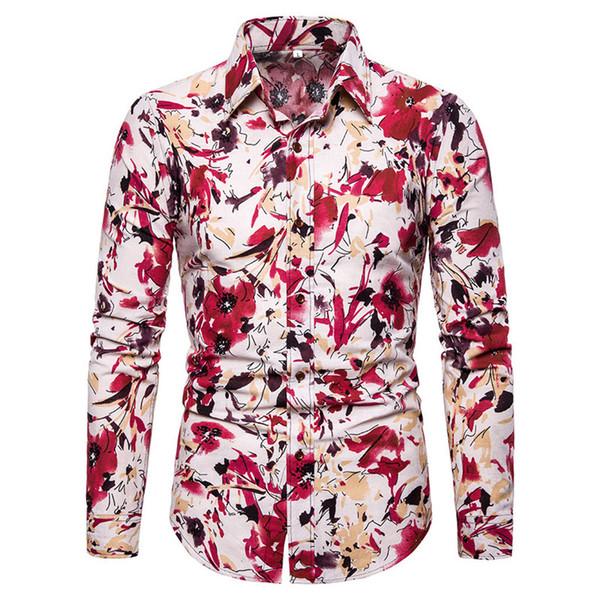 El Boya Çiçek Baskı Elbise Keten Gömlek Erkek Gündelik Giyim Zarif Akşam Yemeği Parti Bluz Sonbahar Uzun Kollu 5XL Ince Erkek Gömlek