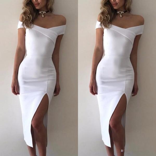 Simple Style Sexy White Satin Off Le soir de cocktail épaule manches bodycon du Club Party Dress Midi